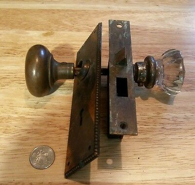 Antique Brass and Glass Door Knob's  WITH Lock Mechanism and door plate