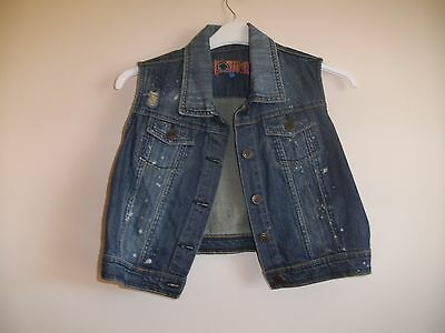 Ladies sleeveless blue distressed denim waistcoat Size 14