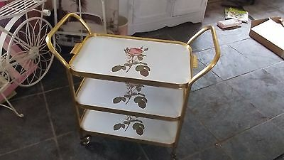 Lovely Drinks Tea Cocktail Trolley Gold  & Rose Three Tier Vintage Retro