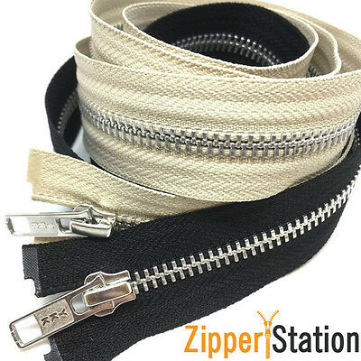 YKK Extra Long Metal Open End Zips - Black, Beige Zipper. 91cms to 300cms
