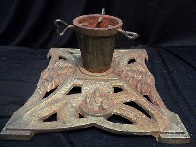 Candle and Bell Motif Cast Iron Vintage Small or Feather Christmas Tree Stand