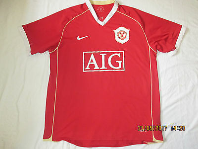 Rare Manchester United 2006 Aig Nike Home Football Shirt Jersey. Large
