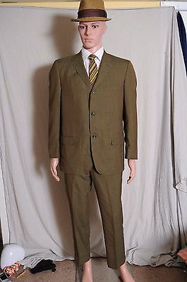 VTG '60s Hamilton tailored suit Green windowpane plaid 3 button MOD 42  32X28