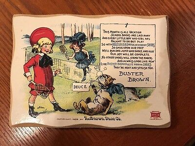 Vintage Wooden Advertising Sign for Buster Brown Shoes