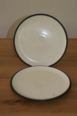 """Set of two Denby Energy 10.5"""" Dinner Plates Charcoal / Cream"""