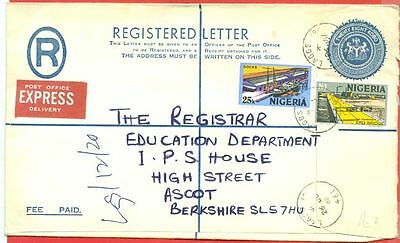 Nigeria Stationary Registered Envelope Up-rated cover to UK GB