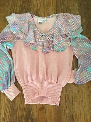 True Vintage 1980's ANTHONY SICARI Womens Pink Knit Sweater Top Sz 8