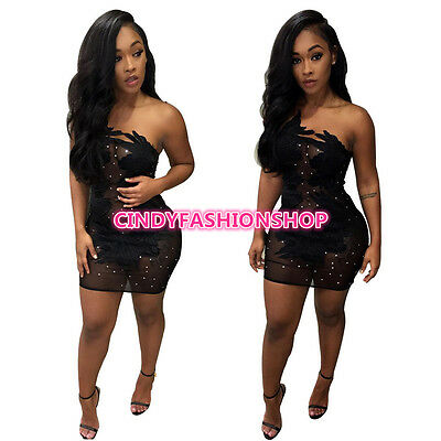 Summer Women Sexy  Strapless Bandage Black Patchwork Lace Sexy Club Mini Dress