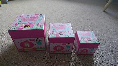 3 STACKING STORAGE BOXES Pink FAIRY