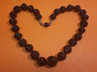 Antique Carved Black Jet Graduated Bead Necklace 42Cm