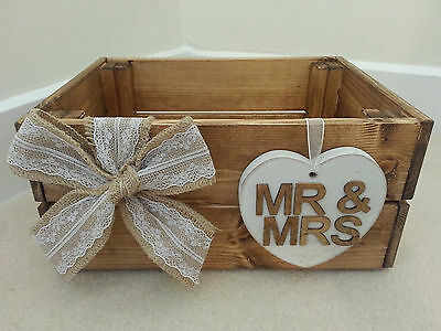 Wedding Crate / Box - Ideal For Cards Etc - Rustic / Vintage - Hessian / Hearts