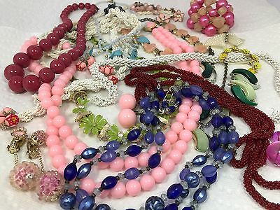Vintage lot of Early Plastic Thermoset Celluloid Bakelite Lucite Job lot Jewelry