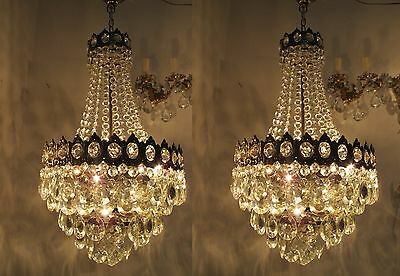 Pair Of Vnt French Basket Style Crystal Chandelier Lamp light 1950s 15in diametr