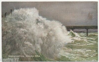 Norfolk Postcard Hunstanton Rough Sea Pier In Background Unposted