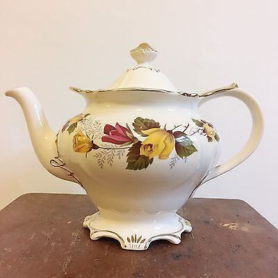 Vintage Kitsch Home Sadler English Pottery Gold Floral Teapot Tea