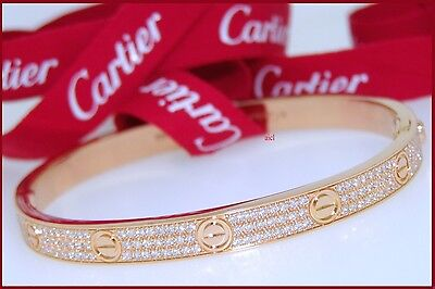 CARTIER 18k PINK GOLD FULL DIAMOND LOVE BRACELET  SIZE 20  276 DIAMONDS 2.76tcw