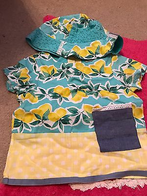 Next Girls Top And Matching Hat 12-18 Months Lemon Pattern
