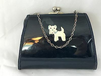Darling Vintage Purse Scotty Dog Childs Patent Leather