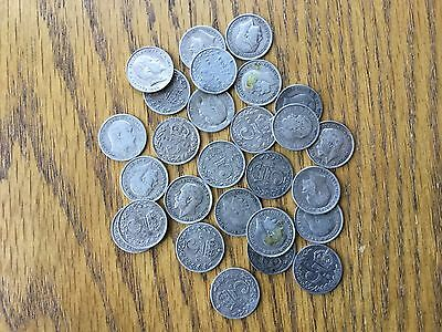 Great Britain Silver 3 Pence, Qty 27, Early 1900's