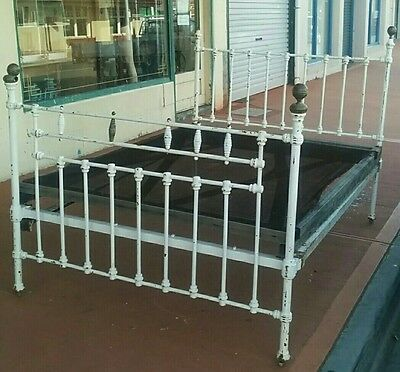 Antique Victorian Brass & Cast Iron Double Bed - Restoration Project - Tasmania