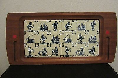 Delft Double Tile Wood Tray Holland Dutch Blue