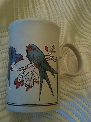 Vintage Dunoon Mug Blue And Red Birds Made In Scotland