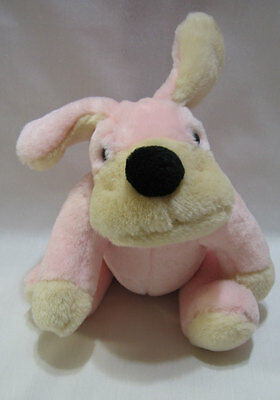 FAO Schwarz Dog Puppy Pink Plush Jointed Stuffed Animal Soft Toy 10""