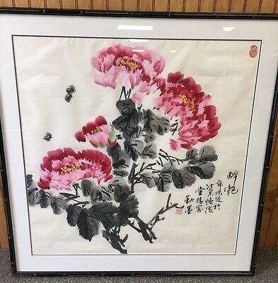 Large Fine Signed Chinese Framed Watercolor Painting Of Flowers And Bees