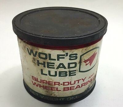 Vintage Wolfs Head Lube Super Duty And Wheel Bearing Can