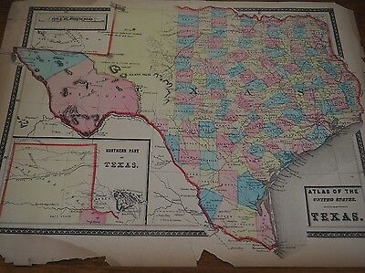 Atlas of the United States-Texas, Beers & Warner 1876 Chicago-Rare Map