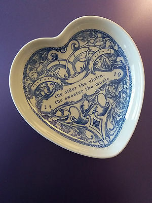 Spode The Blue Room Collection 'violin' Heart Shaped China Trinket Tray