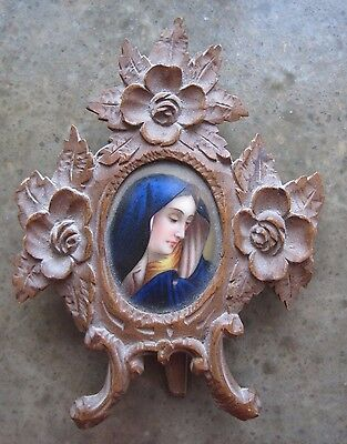Antique Painted Porcelain Black Forest Picture Frame Madonna Hand Painted German
