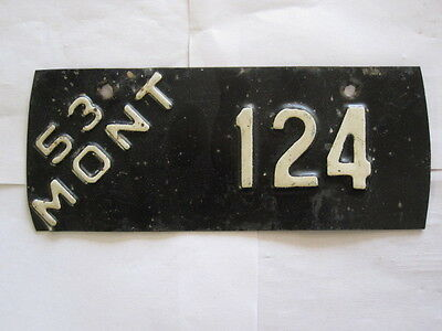 1953 Montana MOTORCYCLE  License Plate Tag