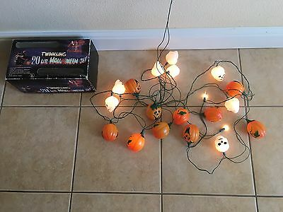 VTG 18 Plastic Twinkling Skulls/Pumpkins String Light Set Halloween Decor