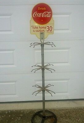 Very Rare Vintage1941 Canada Coca Cola 6 Pack Bottle Rack Die Cut Sign Cast Base