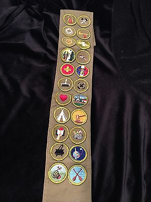 Sash With 22 Vintage merit badges