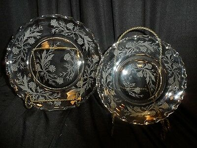 Fostoria Century with Etching 7 Dessert & 7 Bread Plates