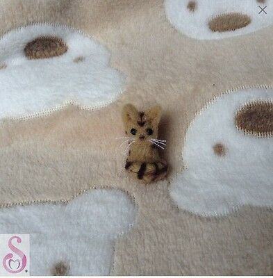 Needle felt tabby cat / kitten OOAK miniature dollhouse handmade art by Sheryl