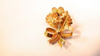 Estate Tiffany & Co 18k Yellow Gold Acorn Pin Brooch