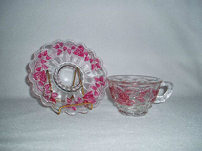 Westmoreland Paneled Grape Crystal Ruby Lustre Flashed Cup & Saucer, Free Ship