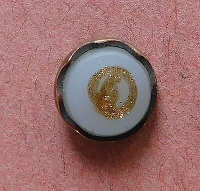 Antique Metal Button With Milk-Glass And Goldstone Top