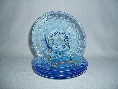 U.S. Glass Blue Aunt Polly Depression Glass Sherbet or Bread & Butter Plates (4)