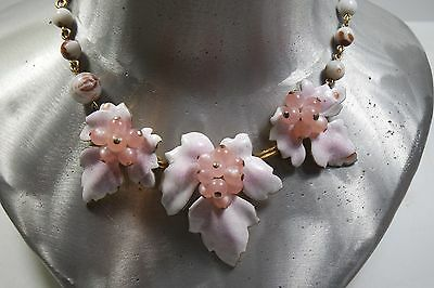Vintage Venetian Glass Hand Painted Enamel Pink  Choker Necklace By Regel /grape
