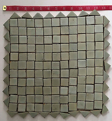 Vintage Lot of Over 150 1 Inch Square & Triangle Ceramic Bath Tiles Light Green
