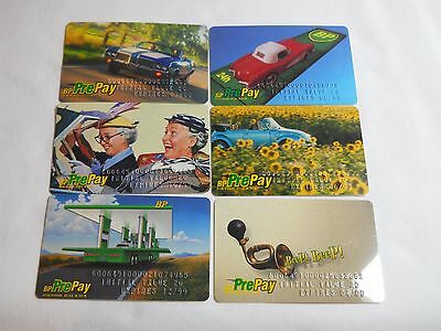 Lot Of Six Different Bp Prepay Cards 1999-2000 Unused
