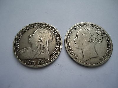 Great Britain - 1883 and 1896 Silver Shilling Lot - Queen Victoria