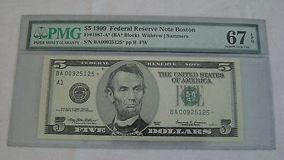 PMG EPQ 67 1999 $5 Federal Reserve Note FR#1987-A* Star Note