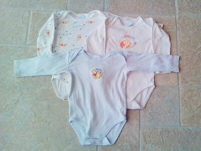 "Lot 3 bodies manches longues bébé 12 mois Winnie l'Ourson ""Disney"""