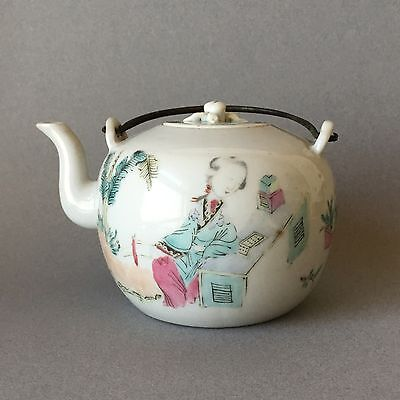 Chinese Qing 19th C Guangxu Famille Rose Teapot Lady in Garden w/ Inscription