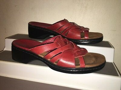 CLARKS Red Leather Crossover Starps Slip on Slide Sandals Shoes Womans Sz 6.5 M